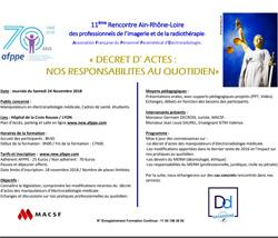 11ème Rencontre Ain-Rhône-Loire des professionnels de l'imagerie et de la radiothérapie.