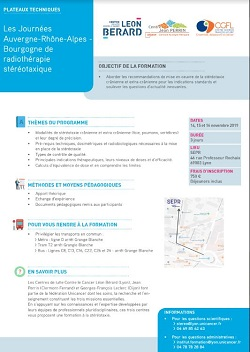 Les Journées Auvergne-Rhône-Alpes-Bourgogne de Radiothérapie stéréotaxique